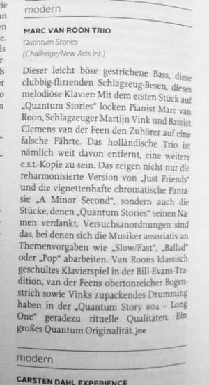 JazzThing (German Magazine) review Quantum Stories