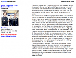 Jazzflits magazine 207 review of Quantum Stories