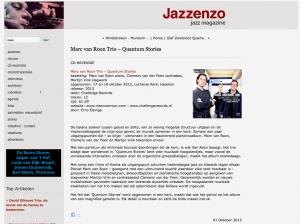 Jazzenzo (Dutch Jazz site) Quantum Stories review