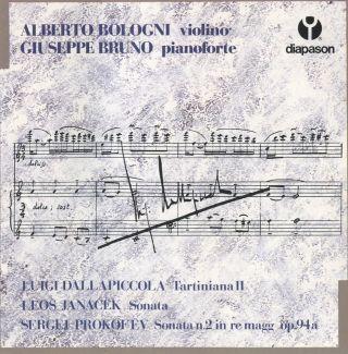 Dallapiccola: Tartiniana II - Janacek: Sonata - Prokofiev: Sonata n.2 in re magg, op. 94a