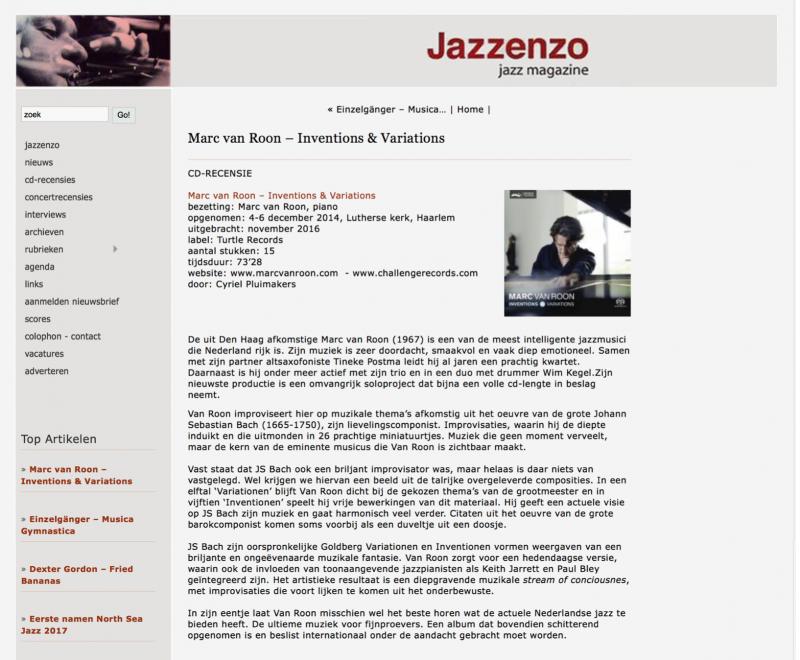 inspiring CD review inJazzenzo jazz magazine