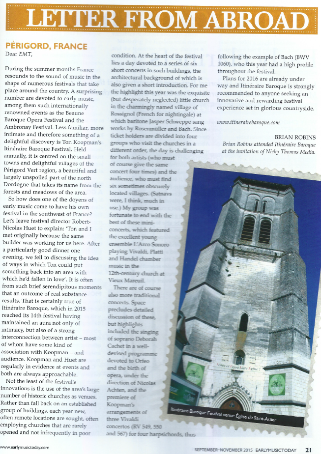 Early Music Today Magazine over Itinéraire Baroque